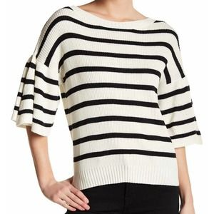 Chaser sweater cream black striped bubbled sleeves